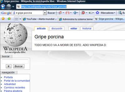 wikipedia saboteado pone: